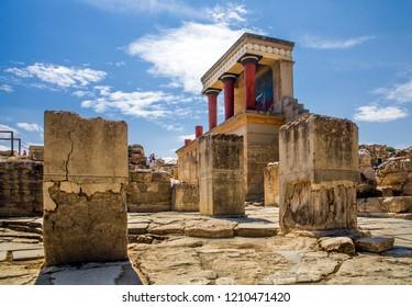 Crete, Knossos / Greece - September 27, 2018: Red columns of the Knossos palace. Fragment of the ruins of the Knossos palace. Architecture on Crete, Greece.