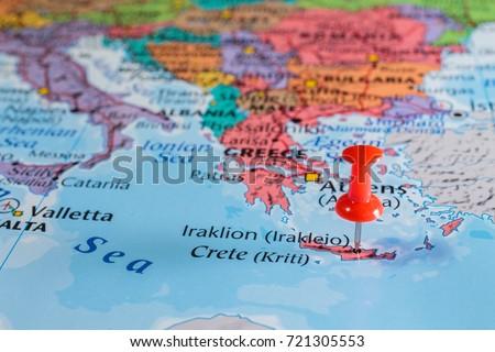 Crete On Map Stock Photo Edit Now 721305553 Shutterstock
