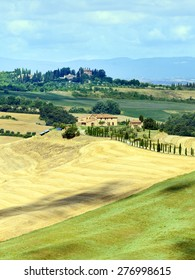 Crete senesi, characteristic landscape in Val d'Orcia (Siena, Tuscany, Italy), at summer.