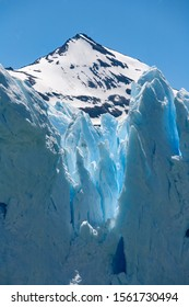 The crevasse filled surface of the Perito Moreno Glacier - located in the Los Glaciares National Park in Patagonia in the southwest of Santa Cruz province in Argentina, South America.