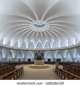 CREVE COEUR, MISSOURI, USA - NOVEMBER 6, 2019: Interior of the contemporary Abbey of Saint Mary and Saint Louis (St. Louis Abbey) on Mason Road in Creve Coeur