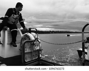 The crew boat monitor the boat arrives before trip to Tarakan, Tanjung Keramat, September 3rd 2017