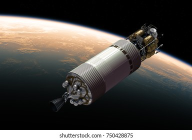 Crew Exploration Vehicle In Outer Space. 3D Illustration.