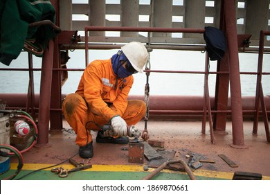 Crew Fixing Repairing Working Mother Vessel Deck - Shutterstock ID 1869870661