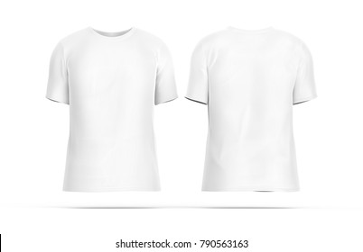 Crew neck T-shirt set, blank white cloth template with invisible model isolated on white background, 3d render