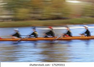 Crew rowing team, Charles River, Boston, MA