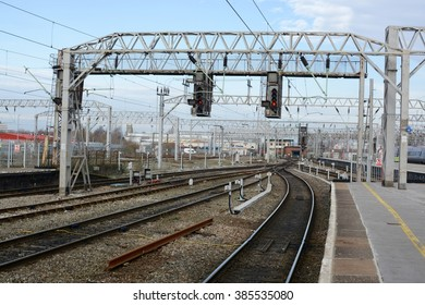 CREWE, UK - FEBRUARY 16, 2016: Crewe Railway Station / Platform. Crewe railway station has twelve platforms and a modern passenger entrance which serves as a rail gateway for North West England