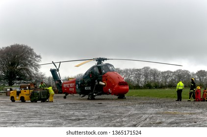 Crewkerne, Somerset UK April 2019 Westland Wessex Royal Navy Rescue taking off from Historic Helicopters base.