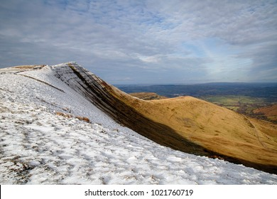 Cribyn mountain near Pen y Fan in the Brecon Beacons National Park with winter snow.