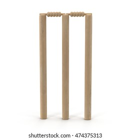 Cricet wickets 3D illustration isolated on white