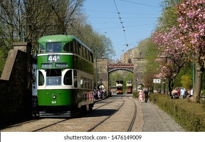 Crich, Derbyshire/England - May 2019: Historical Trams on a Sunny Day at Crich Tramway Village
