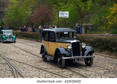 CRICH, ENGLAND - APRIL 17, 2017: Vintage Hillman car at the World War II - Home Front 1940s event at Crich Tramway Village in Derbyshire, UK, home of the National Tramway Museum.