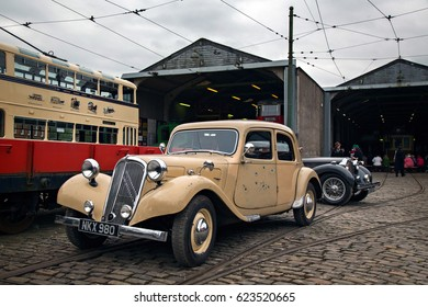 CRICH, ENGLAND - APRIL 17, 2017: Vintage Citroen car at the World War II - Home Front 1940s event at Crich Tramway Village in Derbyshire, UK, home of the National Tramway Museum.