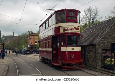 CRICH, ENGLAND - APRIL 17, 2017: Vintage Tram at the World War II - Home Front 1940s event at Crich Tramway Village in Derbyshire, UK, home of the National Tramway Museum.