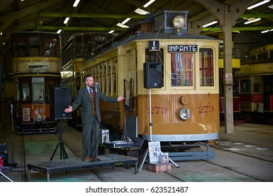 CRICH, ENGLAND - APRIL 17, 2017: Peter Wayre performing at the World War II - Home Front 1940s event at the Crich Tramway Village in Derbyshire.
