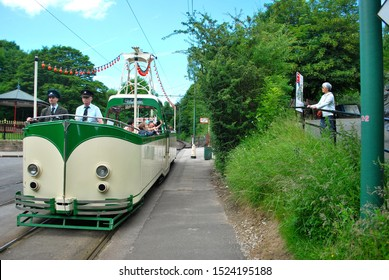 CRICH, ENGLAND - JULY 5. The National Tramway Museum features historic tramcars from Leeds and Blackpool on July 5, 2019, Crich, England.