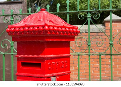 CRICH, ENGLAND JULY 8 2018 Vintage Antique Victorian Royal Mail Post box