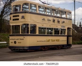 Crich, Matlock, Derbyshire. 5th April 2017. Vintage trams  at Crich Tramway Miuseum, Crich, Matlock, Derbyshire, UK