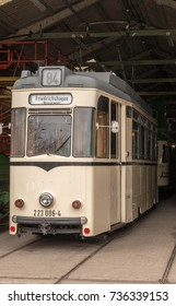Crich, Matlock, Derbyshire. 5th April 2017, Beautiful vinrage trams on display inside hangers at  the Crich tramway museum, Crich, Matlock, Derbyshire, UK