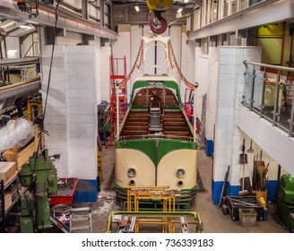 Crich, Matlock, Derbyshire. 5th April 2017, Beautiful vinrage trams being renovated at  the Crich tramway museum, Crich, Matlock, Derbyshire, UK