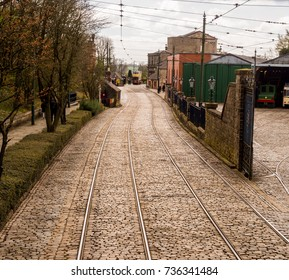 Crich, Matlock, Derbyshire. 5th April 2017. Tramway lines for the vintage trams at the Crich Tramway Museum, Crich, Matlock, Derbyshire