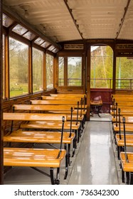 Crich, Matlock, Derbyshire. 5th April 2017. Beautiful wooden interiors on the vintage trams at Crich tramway museum, Crich, Matlock, Derbyshire