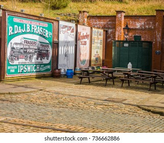 Crich, Matlock, Derbyshire. 5th April 2017, Traditional mens toilets and signs at Crich tramway museum, Crich, Matlock, Derbyshire, UK