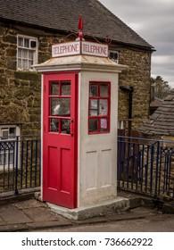 Crich, Matlock, Derbyshire. 5th April 2017. Old public phone box at the Crich tramway museum, Crich, Matlock, Derbyshire, UK