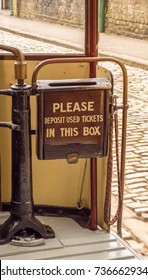 Crich, Matlock, Derbyshire. 5th April 2017. Traditional sign on waste ticket bin on one of the tradional trams at Crich tramway museum, Crich, Matlock, Derbyshire, UK