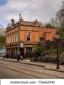 Crich, Matlock, Derbyshire. 5th April 2017. Traditional vintage public house building at Crich tramway museum, Crich, Matlock, Derbyshire, UK