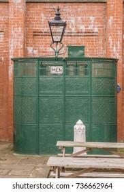 Crich, Matlock, Derbyshire. 5th April 2017, Traditional mens toilets at Crich tramway museum, Crich, Matlock, Derbyshire, UK
