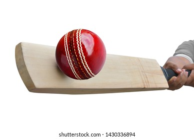 The cricket ball was hit by a cricket bat tip isolated on white background. This has clipping path.