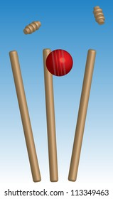 Cricket ball and wickets with blue background