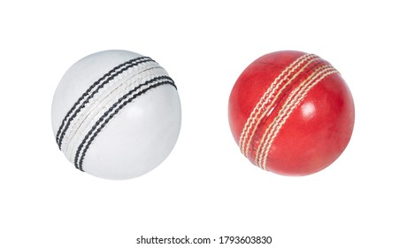 cricket balls isolated on white background red and white balls