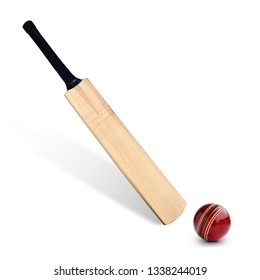 Cricket bat and ball isolated on white background. This has clipping path.