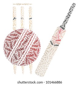 Cricket bat, ball and stumps made from words illustration. Sports concept.