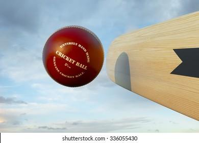 Cricket bat hitting ball