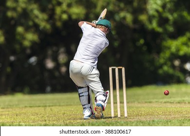 Cricket Batsman Action Cricket game closeup player batting ball stroke strike action high school teams.