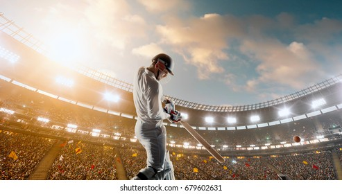 Cricket Batsman in Action on a professional cricket stadium. The player wears unbranded clothes. The stadium is made in 3D with no existing references.