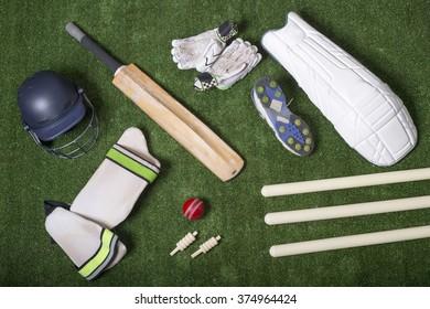 Cricket gear on grass