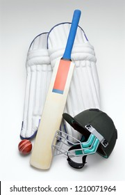 Cricket gear on white background