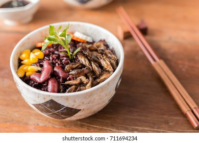 Cricket insect, Corn, Red bean, Carrot, Cucumber with Rice Berry in a bowl. Healthy meal high protein diet concept. Close-up, Selective focus.