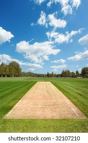 Cricket pitch at sport field