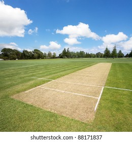 Cricket pitch in the sports park
