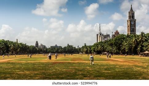 cricket played on Oval maidan in Mumbai, India