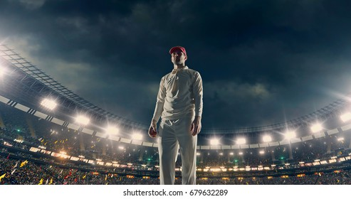 Cricket player on the stadium. The sportsman wears unbranded sports clothes. Stadium is made in 3D.