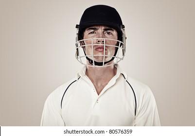 Cricket player wearing helmet , close-up, portrait