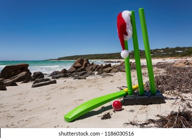 A cricket set on an Australian beach during Christmas.