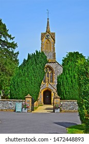 Cricket St Thomas, Somerset / England - 7/21/2019: The Parish Church of St Thomas is located in the grounds of Cricket House, an old manor house now occupied as a hotel.