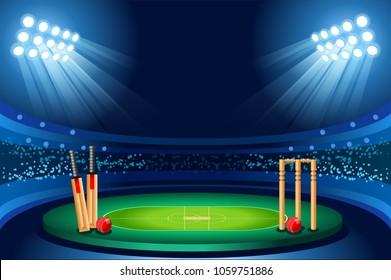 Cricket stadium background. Hitting recreation equipment design.